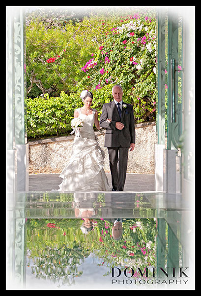 Bride entering wedding chapel in Bali