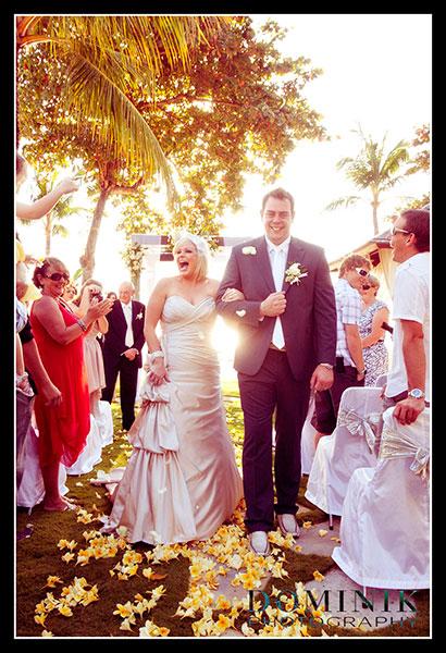 sunset wedding on a beach at Bali island