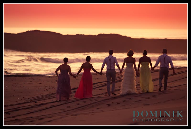 wedding photo journalism at sunset on the beach