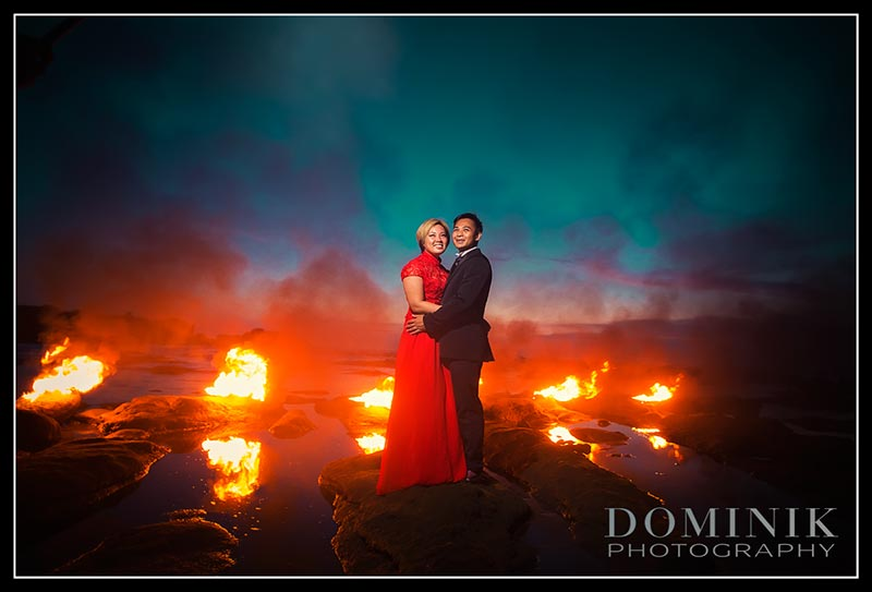 photo pre wedding with fire